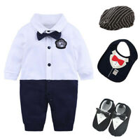 Newborn boys clothes bodysuit wedding party tuxedo outfits baby shower gift