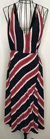 BNWT RRP £39 TOPSHOP Black Pink Striped Wrap A Line Dress UK 14 On Trend Blogger