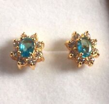 Oval aquamarine + white sapphire 13mm x 10mm gold filled stud earrings BOXD Plum