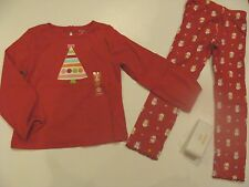 Gymboree Holiday Cozy Cutie Girls Size 5T Tree Shirt Top Snowman Leggings NWT