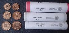 ESTONIA ESTLAND ESTONIE 1 + 2 + 5 Euro - Cent - 3 Rolle - 150 Münzen 2011