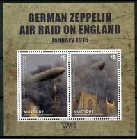 Mustique Gren St Vincent 2014 MNH WWI WW1 German Zeppelin 2v S/S Military Stamps