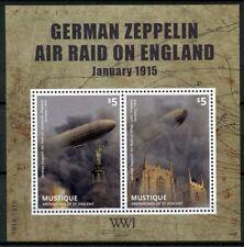 Mystique Gren St Vincent 2014 neuf sans charnière WWI Allemande WW1 ZEPPELIN 2 V S/S Military timbres