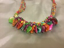 """Multi-Color 20.5 """" Hippie Shell Stone Heavily Beaded Costume Jewelry Necklace"""