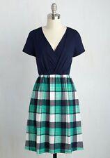 Modcloth Gilli Navy Blue Surplice Plaid Skirt Knit Dress Size S Apres la Soiree