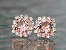 1ct Round Cut Champagne Morganite Floral Stud Earrings Women 14k Solid Rose Gold