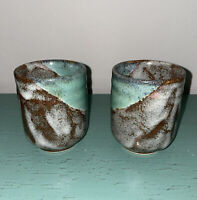 2 Pottery Clay Drip Glazed Blue Brown Pearl Coffee Tea Mug Cup Tumbler Handmade