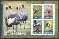 UG001 UGANDA SALE BIRDS GREY CROWNED CRANES BIRD WATCHING FAUNA #3245-3248 MNH