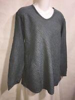 FLAX Jeanne Engelhart Blue Green Seersucker Linen Shapely Bias Tunic Top Shirt S