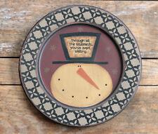 Primitive Wood Plate Winter Decor Kept Smiling Snowman Vintage Style 11 inch