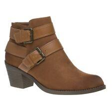 Ladies Dolcis Quincy Tan Memory Foam Buckle Strap Low Heel Flat Ankle BOOTS UK 7