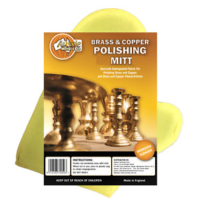 Brass & Copper Polishing Mitt Impregnated with Tarnish Retardant Cleans As Well