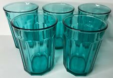 Vintage (5) Luminarc Arcoroc Teal 10 Panel Glasses 500 Working Glass France