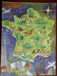 Youth Sports in France Polo Soccer Bull Fighting Golf 1950's cartoon picture map