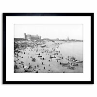 Vintage Photo Seascape Beach Tynemouth Long Sands England Framed Print 9x7 Inch