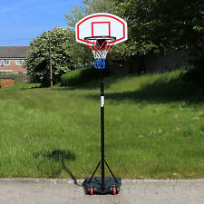 FREE STANDING BASKETBALL NET HOOP BACKBOARD WITH ADJUSTABLE STAND SET ON WHEELS