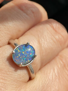 D.joy 925 Sterling Silver Black Opal Triplet Ring -Uk Size O