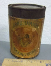 Vintage Arm & Hammer Baking soda tin, mostly full, Label put on Different can
