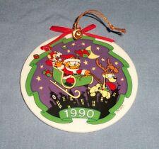 Vtg 1990 Enesco Porcelain Garfield Cat Odie Jim Davis Christmas Ornament Santa