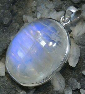 Natural gem blue moonstone Pendant sterling silver womens girls jewellery large
