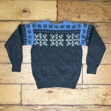 0d4e5f77d1 Norse Knit Vtg Womens 100% Wool Snowflake Sweater Grey Blue Nordic Handmade  M