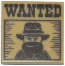 LEGO - Tile 2 x 2 with 'WANTED' Western Bandit Poster Pattern - Tan