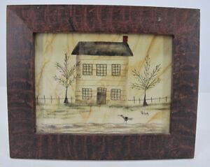 Ann Rea Heritage Theorem Painting Primitive House w/Bird Blackbird #2 yqz