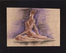 FEMALE NUDE by RUTH  FREEMAN MIXED MEDIA MEASURES 8  X 10 MOUNTED ON BOARD