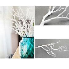 Planta de Plástico Artificial Simulación falso rama de árbol Pequeño Palo Verde/Blanco
