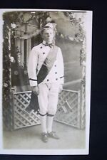 Real Photo, Divided Back Postcard - Young Man in White Uniform & Hat with Sash