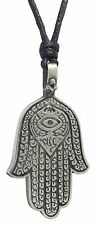 Pewter HAMSA / HAND of FATIMA Pendant on Black Cord Necklace Nickel Free Hindu 1