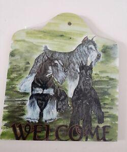 Vintage Schnauzer Dog Welcome Plaque Sign