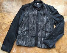 Calvin Klein Wool Blend Motorcycle Jacket, Black & White, M