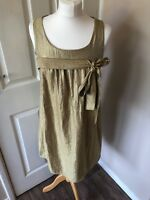 Top Shop Shift Dress 10 Gold Glimmer Bow