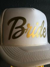 Bride Fashion Wedding Trucker Hat Bridal Party Golden Gold Honeymoon Party Cap