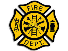"YELLOW FIRE MALTESE FIREFIGHTER 4"" HELMET BUMPER  STICKER DECAL MADE IN USA"
