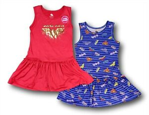 Wonder Woman Batgirl Superwoman Super Heroes 2-Pack Dresses for Girls Small 6/6X