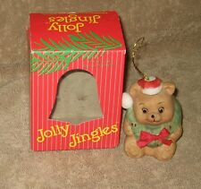 Jolly Jingles Collectible Handpainted Porcelain Bisque Bear Bell Ornament