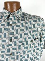 Vintage 90s Geometric Print Silk Shirt Men's Small Gray Short Sleeve Button Down