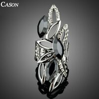 Big Hollow Design with Black Austrian Crystal White Gold Finger Rings for Women