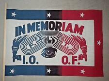 Vintage Odd Fellows in Memoriam I.O.O.F / F.L.T. Parade Flag Lodge Cotton - NOS