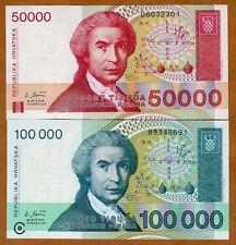 Set Croatia,50000;100000 Dinara 1993 Pick 26-27 First Independent Unc