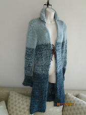Free People Long Cardigan Wool Knit Sweater Duster Coat Multi Blues Tie front  M