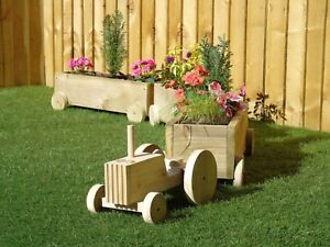 Tractor + Trailer Wooden Garden Planter Plant Pot Display - Treated Farmer