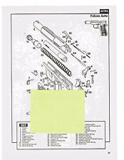 ASTRA FALCON, FIRECAT AUTOMATIC  PISTOLS  EXPLODED VIEWS & PARTS LIST 1992 AD