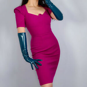 """EXTRA LONG LATEX GLOVES Faux Patent Leather 24"""" 60cm Shine Teal Peacock Blue"""