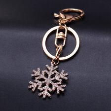 Rhinestone Snow Crystal Keyring Charm Pendant Purse Bag Key Ring Chain Keychain