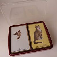 Vintage Chesapeake and Ohio Railway Cat Playing Cards Sealed Hinged Red Case