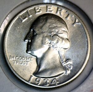 1934 CHERRY PICKERS FS 401 LT MOTTO Washington Quarter SILVER HIGH GRADE Coin NR