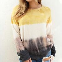 Womens Tie-Dye Shirt Crew Neck Jumper Blouse Causal T-Shirt Autumn Pullover Tops